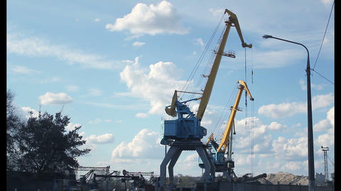 Port crane timelapse Stock Video Footage