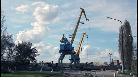 Port crane timelapse 3 Stock Video Footage