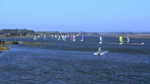 Sailboats in regatta Stock Video Footage