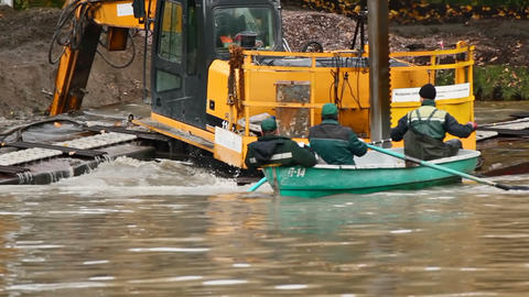 Dredging are life-threatening Stock Video Footage