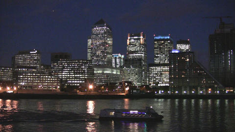 London Canary Warf and River Themse Stock Video Footage