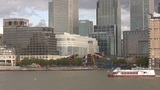 London Canary Warf And River Themse stock footage