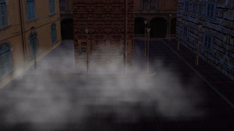 Foggy Old Fashioned Downtown Street Animation