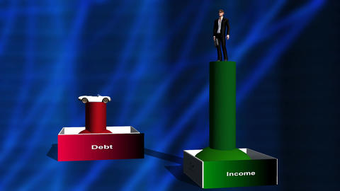 Animated Lower Debt & Rising Income (man) Animation