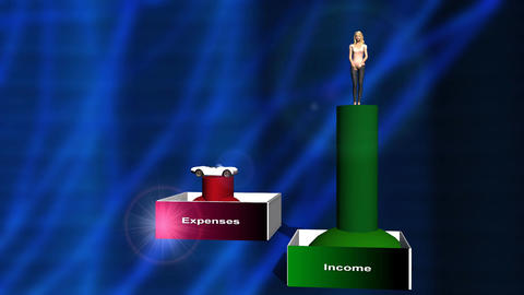 Rising Expenses and Shrinking Income Animation (woman) Stock Video Footage