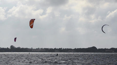 Kitesurfers in action Stock Video Footage