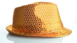 Orange paillette hat Stock Video Footage
