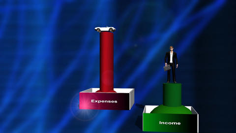 Rising Expenses and Shrinking Income Animation (man) Stock Video Footage