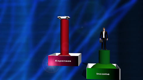 Rising Expenses and Shrinking Income Animation (man) Animation