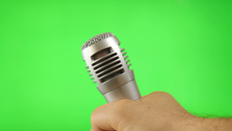 Holding Microphone Isolated On Green Screen Footage