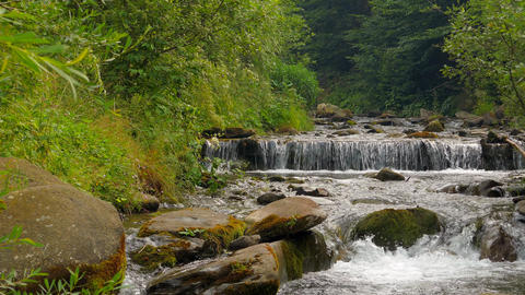 4k, Waterfall in the mountains near the village Pylypets, Carpathians Footage