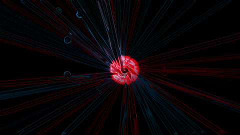 nucleus launch lines probe in space,computer virtual data fibre optic cable rays light Animation
