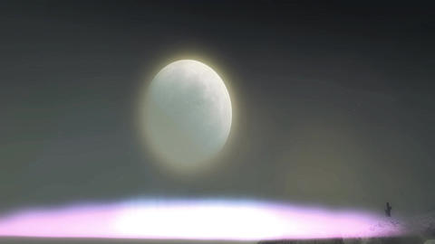 Aurora Effect Lower Third with Moon Background Animation