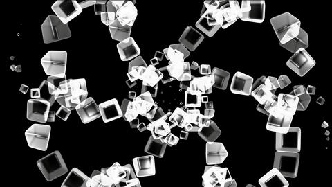 ice block,flying glass boxes and rays light,crystal... Stock Video Footage