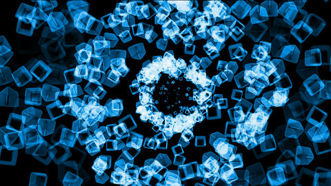 blue ice block tunnel hole,crystal jewelry necklace,flying glass boxes and rays light,tech web cubes Animation