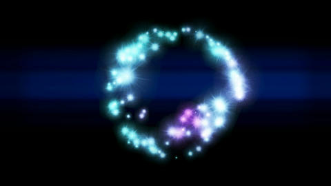 flare stars shaped circle and rays light as holiday background,shiny particle round in sky Animation