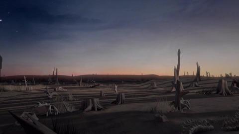 Meteor Falling in Eerie Desert Scene Stock Video Footage