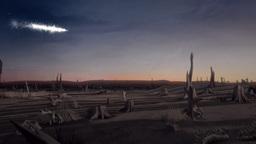 Meteor Falling in Eerie Desert Scene Animation