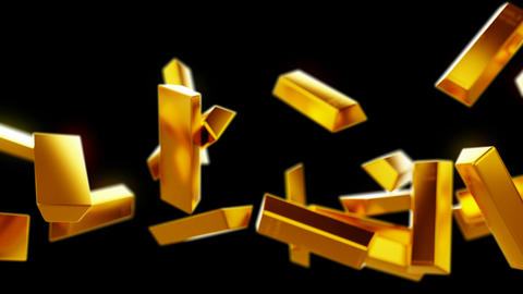 Gold bars or bullions flow with slow motion. Wealth and... Stock Video Footage