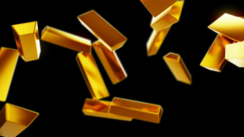 Gold bars or bullions flow with slow motion. Wealth and success Animation