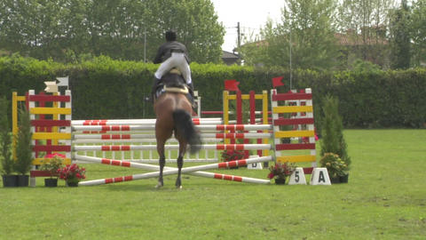 horse race jump 52 Stock Video Footage