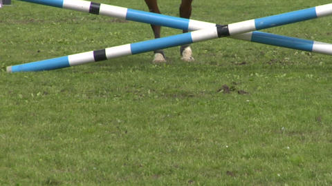horse race jump close up 04 Stock Video Footage