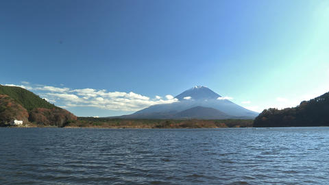 Autumn Landscape in Shoji Lake and Mt.Fuji,Yamanashi,Japan_2 Stock Video Footage