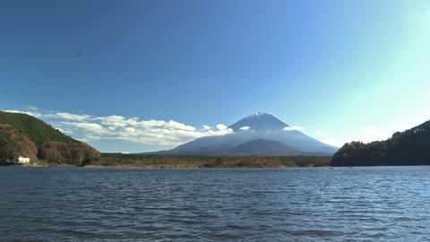 Autumn Landscape in Shoji Lake and Mt.Fuji,Yamanashi,Japan_2 Stock Video Footage