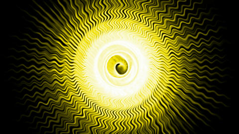 yellow fiber optic wave shaped hole tunnel & ripple pulse,rotation energy blackhole halo field have Animation