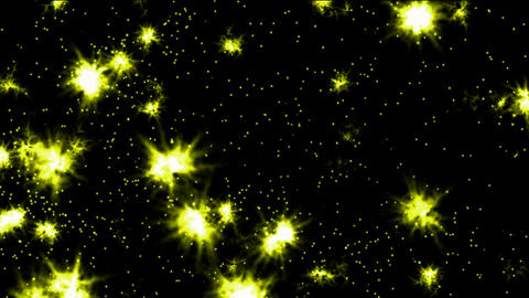 shine yellow fireworks and particles in night sky,wedding and festival background Animation