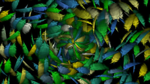Rotation of color flying feather... Stock Video Footage