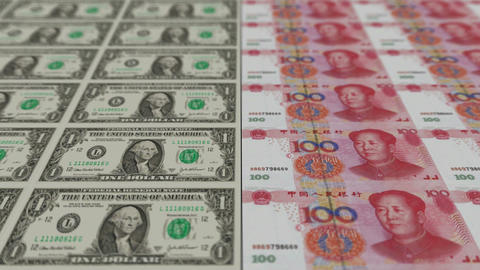 Printing Money Animation,1 dollar and 100 RMB bills,depth Animation