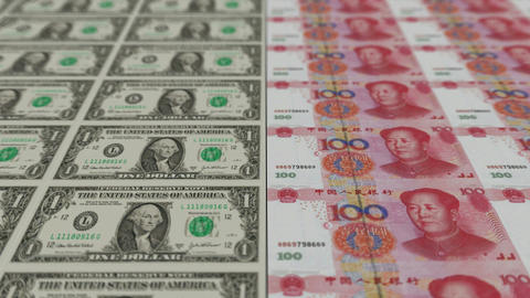 Printing Money Animation,1 dollar and 100 RMB bills,depth Stock Video Footage