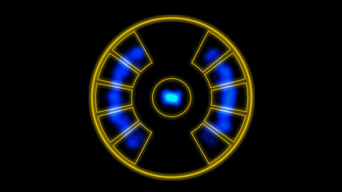 Energy emission instrument with pulsing blue light.UFO,Engines,turbines,scanning,radar,machinery,rec Animation