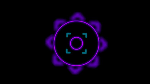 purple circle pattern,center of a target,radar systerm.pattern,symbol,dream,vision,idea,neon lights Animation