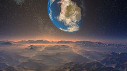 Huge blue planet against a fantastic landscape Stock Video Footage