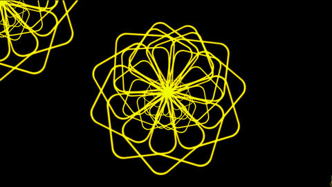 Rotating yellow flower pattern.petal,pistil,silk,cocoon,pupa,signal,confusion,thoughts,mind,particle Animation