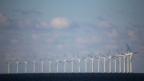 Wind turbines on the water Stock Video Footage