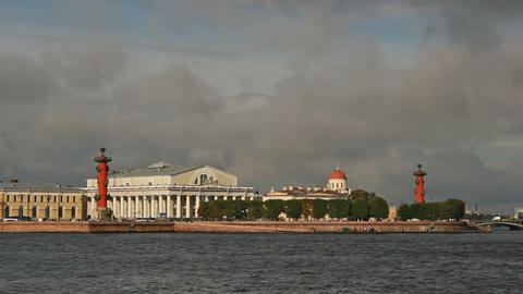 Old Saint Petersburg Stock Exchange and Rostral Co Footage