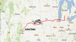 U.S. Map Travel Animation with Car Icon Stock Video Footage