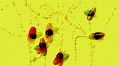 splash watercolor ink particles & joy insect,fairyland scene Stock Video Footage