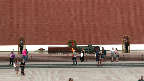 Eternal Flame In Memory Of Victims In The World War, Kremlin Moscow, Russia stock footage