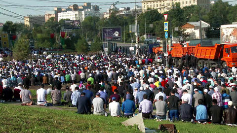 Muslims on celebration of Eid al-Fitr (Uraza-Bairam) Footage