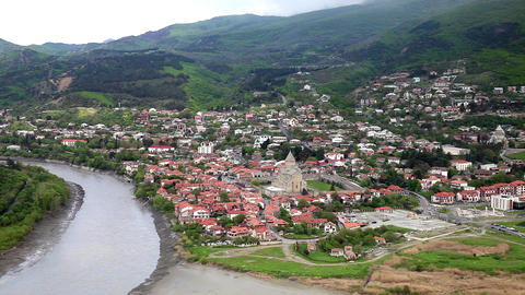 Mtskheta is one of the oldest cities of Georgia. Confluence of the Aragvi and Ku Footage