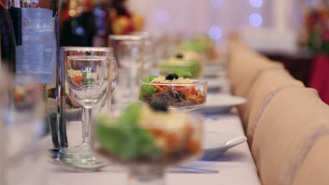 Holiday Table With Food And Drink stock footage