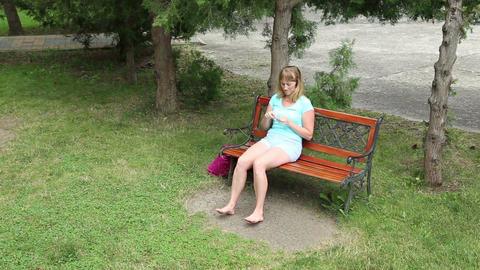 Woman Knits Via Needle Sweater Yarn stock footage