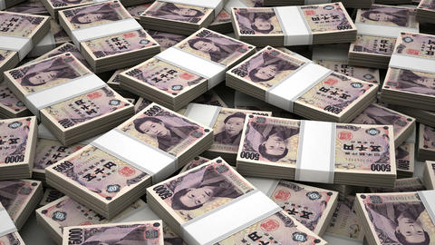 Stack Of Japanese Yen stock footage