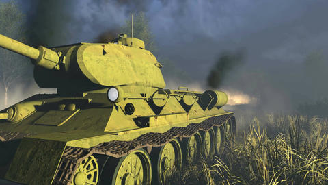 Legendary Russian Tank T 34 Close-up Live Action