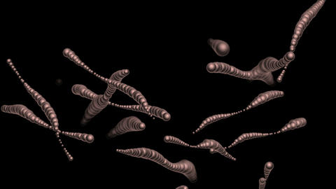 4k Abstract 3d biology metal balls,split bacteria worm spores microbiology Live Action