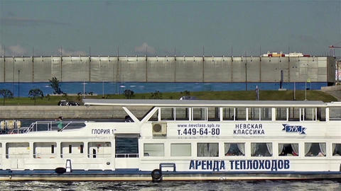 St. Petersburg, Russia - June, 2015: Excursion boat floats on the river. June 12 Footage